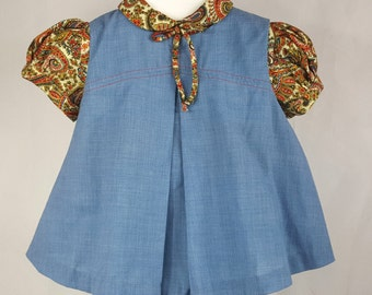 Vintage C.I. Castro Chambray Dress and Bloomers with Paisley Blouse- Size 6-9months- New, never worn