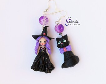 Witch and her black cat - Pendant earrings - handmade - polymer clay