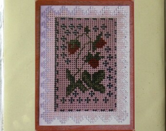 An Unopened Kit for Making a Greetings Card with a Wild Strawberry Design Using Cross Stitch and Simple Paper Sculpture (232)