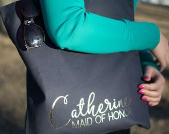 Bridesmaid Tote Bag. Gold Personalized Tote Bag, Bridesmaid gift, Bridal party bag, Wedding tote bag, Bridesmaid bags, Bridal party gift