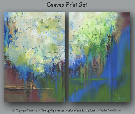 Large Wall Art Abstract Canvas Print Set 2 Piece Multi Panel