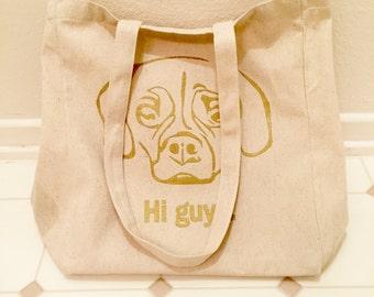 Yebi Says Hi Bag [Metallic Gold Print] || Puggle Reuseable Grocery Bag | Recycled Cotton Bag | Tote Bag | Market Bag | Book Bag | Pump Bag