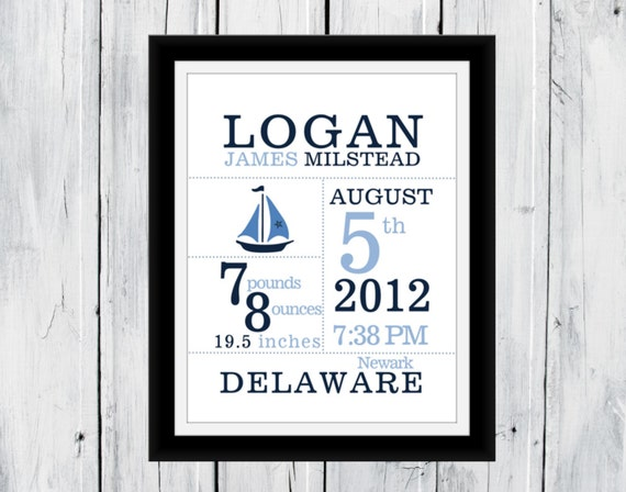 baby boy nautical birth announcement print