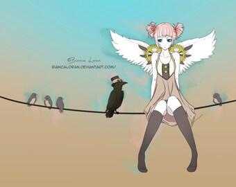 "Birds on a Wire Art Print - 8""x10"" or 11x14"" - original anime manga crow steampunk girl art - Bianca Loran Art"