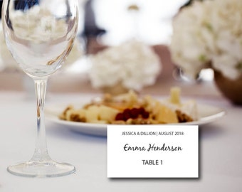 Wedding Place Card, Seating Card, Table Number, Place Card Template, Name Card, Kraft, Editable PDF, Instant Download, Digital Download E62A