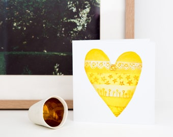 Greeting card in Yellow, Yellow Heart Card, Lacy Heart, Best friend gift, You are my sunshine, Gift Wrapping, Childrens room, I love you mum