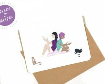 GLBTIQ | Gay | Lesbian | Greeting Card: 'A Quiet Night In'