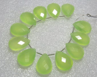 Chalcedony Prehnite Green Color Faceted - 6 Matching Pairs - Pear Shape - size 13x18 mm