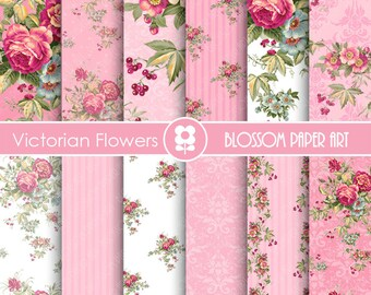Rose Digital Paper, Shabby Chic Digital Paper Pack, Pink Roses, Wedding, Scrapbooking, Roses, Pink VIntage Roses - INSTANT DOWNLOAD  - 1694