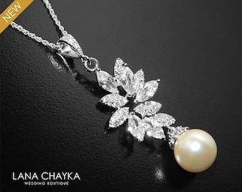 Pearl Bridal Necklace, Swarovski Ivory Pearl Cubic Zirconia Necklace, Wedding Pearl Silver Necklace, Pearl Bridal Jewelry, Pearl CZ Pendant