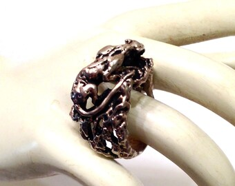 Brutalist Handwrought Panther or Lion Sterling Silver Ring- Size 7.5