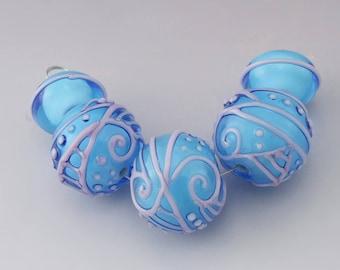 SRA Lampwork Bead Set Aqua Blue Light Pink Scrollwork Lines Dots Scrolls Texture  Round Beads Flamework Glass Beads Heather Behrendt 4986