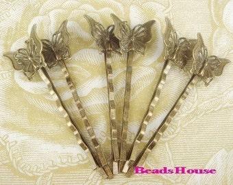HC-37ANT 10pcs  Antique Brass Bobby Pin W/Little Butterfly Filigree, NICKEL FREE