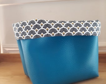 Tidy, fabric and faux leather storage basket