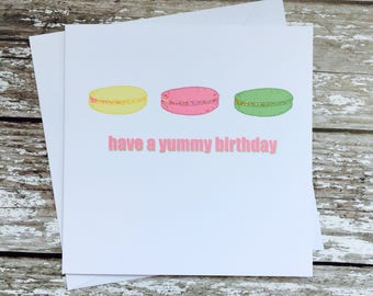 Birthday card - Macaroon birthday card - yummy birthday card - hand embellished birthday card  - macaroons - cake cards