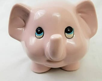 Adorable Pink Elephant Piggy Bank // Cute Pale Pink // Vintage Home Decor // Money / Coin / Change Holder // Animal Ceramic Statue Figurine
