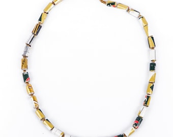 Enif necklace - gold, black and white