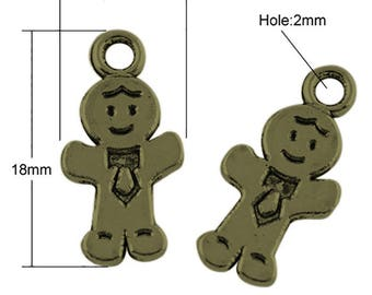 "2 charms in metal Bronze antique ""little man"" 18mm"