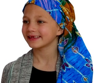 Ava Joy Children's Pre-Tied Head Scarf, Girl's Cancer Headwear, Chemo Head Cover, Alopecia Hat, Head Wrap for Hair Loss - Batik  Flowers