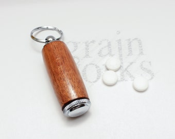 Jatoba (Brazilian Cherry) Deluxe Pill Holder Key Chain with Chrome Accents (Gift Ready)