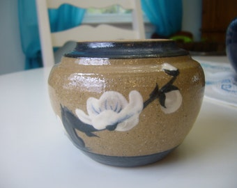 Small Pottery Vase, Light Brown with Blue Accents and White Flowers