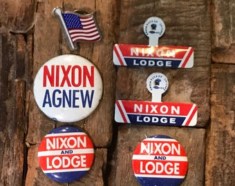 1960's Nixon and Lodge plus Nixon and Agnew political campaign buttons and tabs