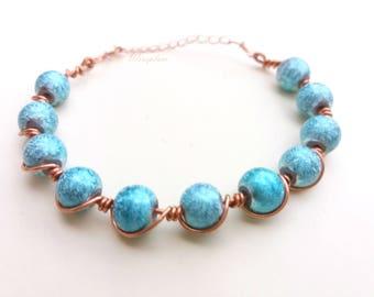 Fashionable Copper & Beads Bracelet
