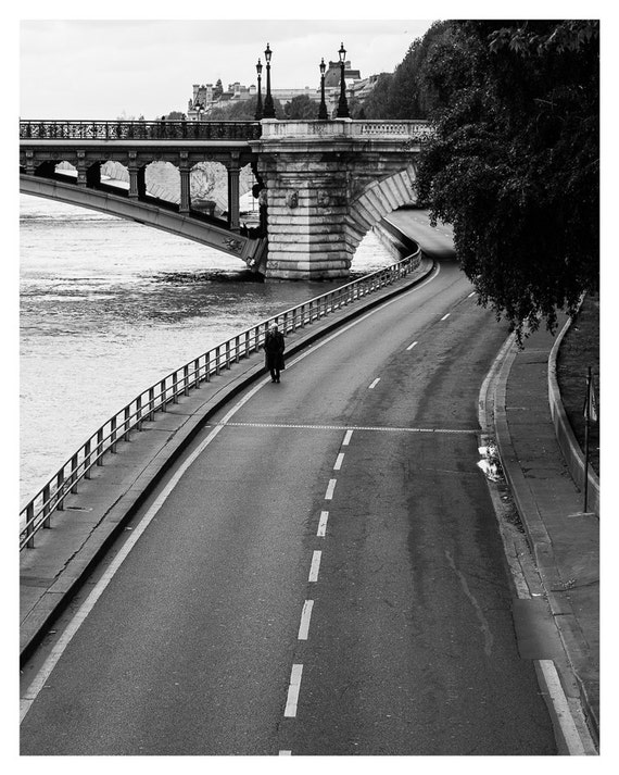 Paris Decor, lonely in Paris, Black and White, Fine Art Print, River Seine, Paris photography, French Wall Art, 5x7, 8x10