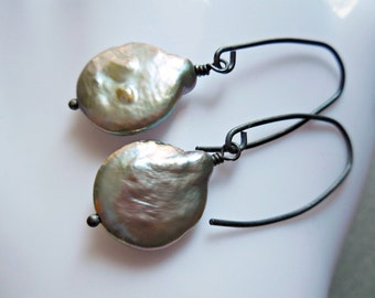 Long Pearl Earrings sterling silver jewelry 925 freshwater pearl coastal modern seaside style beach baubles mermaid inspired nautical trend