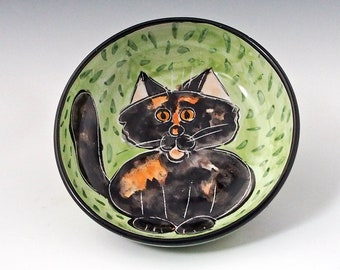 Tortoiseshell Calico Cat Ceramic Feeding Dish - Shallow Bowl - Pet Food Water Bowl, Majolica Bowl - Handmade Pet Bowl - Dark Tortie Cat Bowl