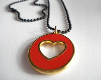 Red open heart pendant, Chain necklace, Love necklace, Valentine's day gift, Gift for her, Heart charm, Gold jewelry, Open heart charm.