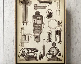 Antique phones poster art print, old phone, telephony art, vintage telephony wall art, retro home decor