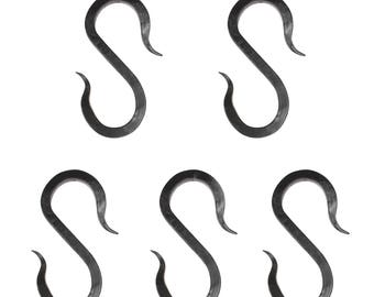 Hand Finished Solid Iron S-Hook 5 Pack (SH-I-02L-BLK-5)
