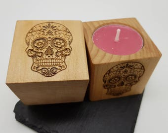 Sugarskull Cube Tealight Holders / Day of the Dead / Skull / Candles / Mexico / Halloween / Tattoo / Calavera / Dia De Muertos