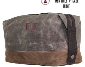 FOR HIM Monogrammed Waxed Canvas Deluxe Toiletry Case-Olive-Free Ship