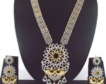 Indian CZ AD Gold & Silver Bollywood Fashion Necklace Bridal Ethnic Jewelry Set 123