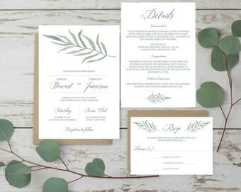 Garden Wedding Invitation Set Template Wedding Green Set Wedding Invites Printable Wedding Invitation Suite Printable Green Leaves Botanical