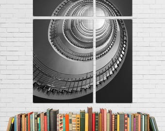 Spiral Staircase BW Quadriptych Metal Wall Art