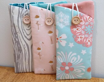 Fabric Eyeglass Case, Sunglass case, Eyeglass holder, pastel floral + stork collection, Padded pouch Sunglass pouch button & elastic closure