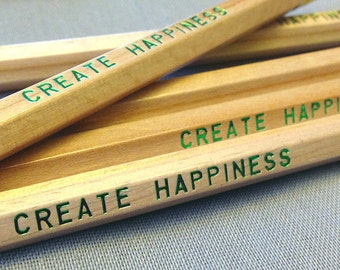 Create Happiness Engraved Pencil 6 pack, Earmark Social Goods Pencils, happy pencil set, natural wood pencils, wood pencils, natural pencil