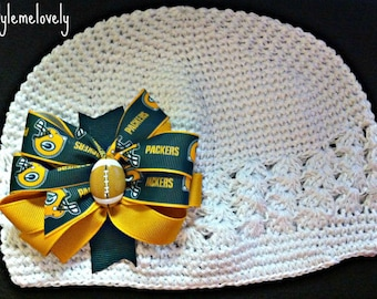 Green Bay Packers Baby Girl Boutique Bow Crocheted Hat