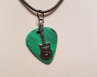 Guitar Pick Necklace from Vinyl record - Guitar