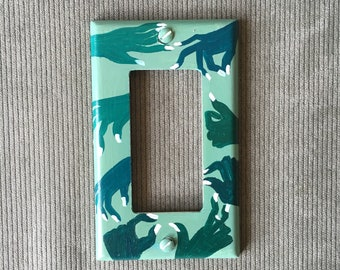 GREEN HANDS Light Switch Plate Hand Painted Wall Art Decor Home Cover Gift