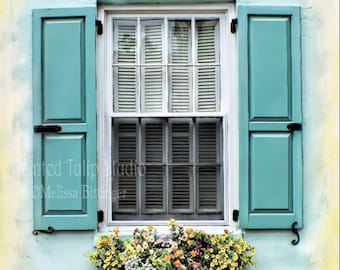 Springtime Charleston SC Windows Shutters Flowers,Aqua Yellow White Travel Photography Architecture Cottage Chic Fine Art Photography Print