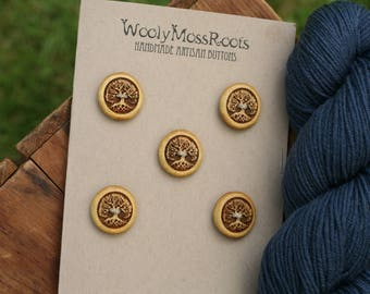 SALE! 5 Yellow Tree Buttons- Yellowheart Wood- Wooden Buttons- Eco Craft Supplies, Eco Knitting Supplies, Eco Sewing Supplies