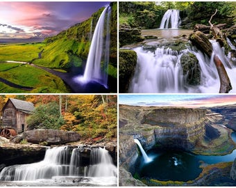 Waterfalls / Four Different Photos / Four (4)  - 5 x 7 / 5x7 GLOSSY Photo Pictures