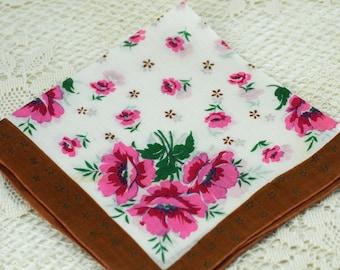 Vintage Hankie Pink Flowers with Brown Border  D24