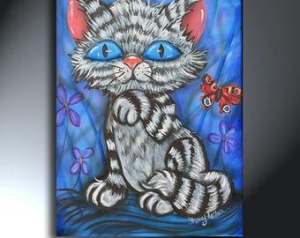 Cartoon Cat Big Eye Painting On Canvas Artwork Size 12 x 16