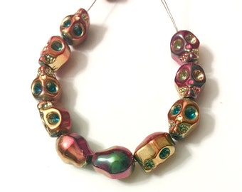 8x10mm Metallic Pink Rainbow Crystal Skull Beads (10), Glass Skulls  Craft supplies