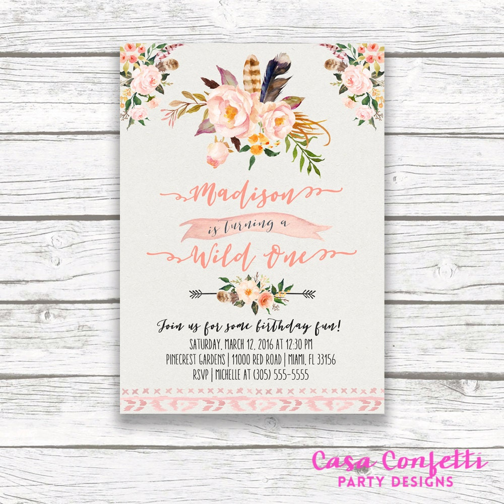 Wild One Birthday Invitation, Boho Birthday Invitation, Girl First ...